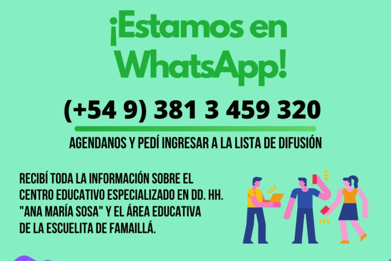Estamos en WhatsApp, para seguir construyendo memoria